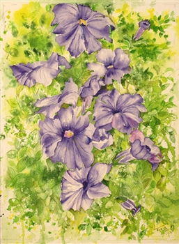 Purple petunias in watercolors, petunias in art, petunias in painting, petunia flowers