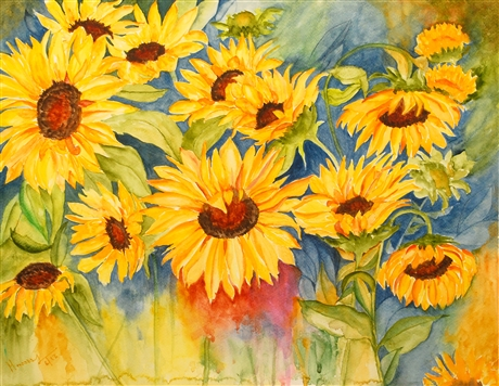 watercolor flower painting of sunflowers, sunflowers in watercolor,sunflowers, sunflowers  in art, sunflower painting, yellow sunflowers