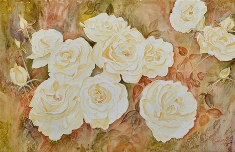 Watercolor flower painting of white roses by manju srivatsa/ watercolor artist at jaipur, india/ at StudioM/watercolor flowers/ textured background
